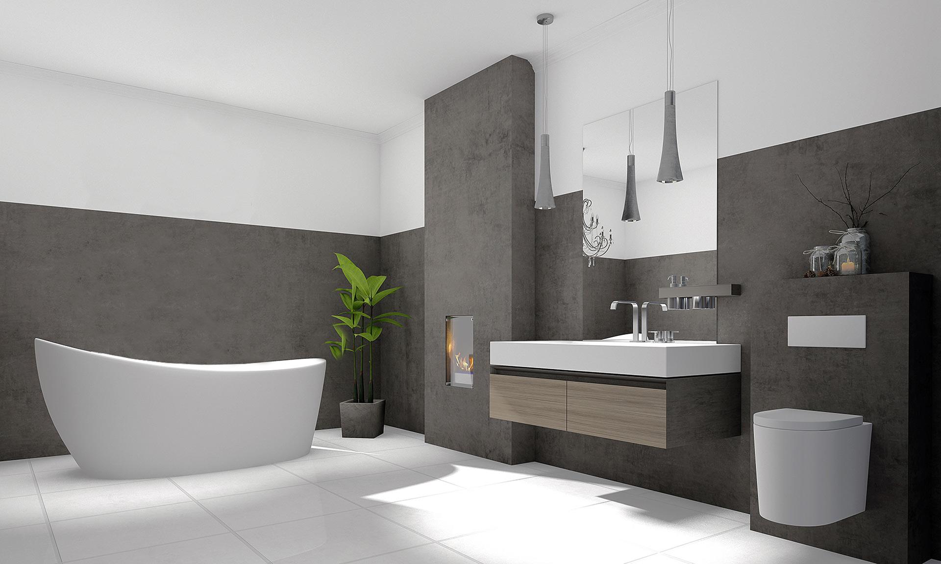 Modernes Bad in braun und weiß